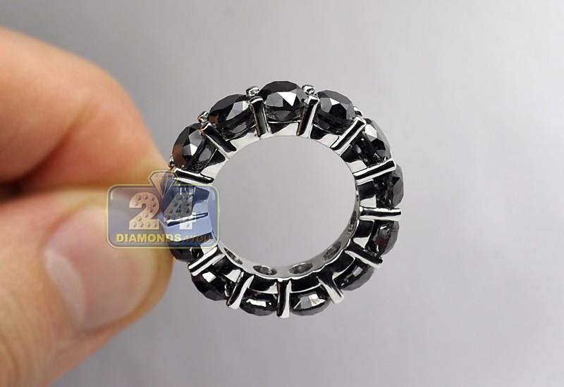 womens black diamond eternity ring 14k white gold ct. Black Bedroom Furniture Sets. Home Design Ideas