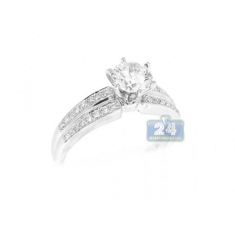 14K White Gold 0.24 ct Round Cut Diamond Engagement Ring Setting