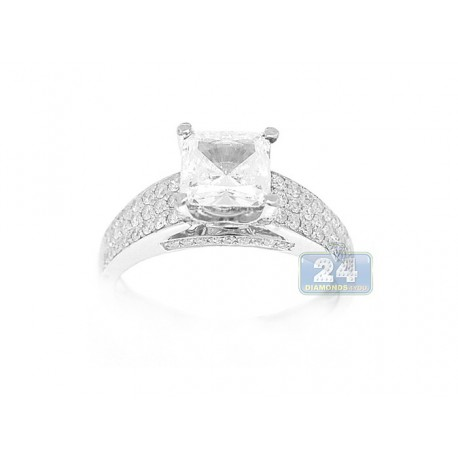 14K White Gold 0.47 ct Diamond Engagement Ring Setting