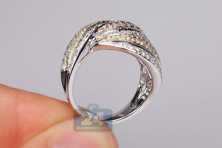 14k Three Tone Gold 2 01 Ct Diamond Womens Wave Band Ring