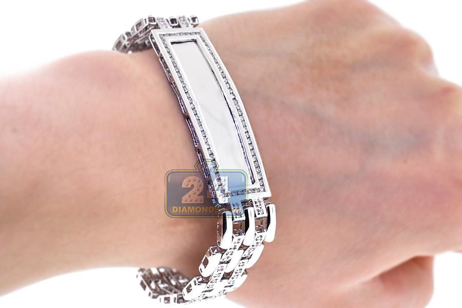 14k white gold ct diamond mens id name bracelet 8 inches. Black Bedroom Furniture Sets. Home Design Ideas