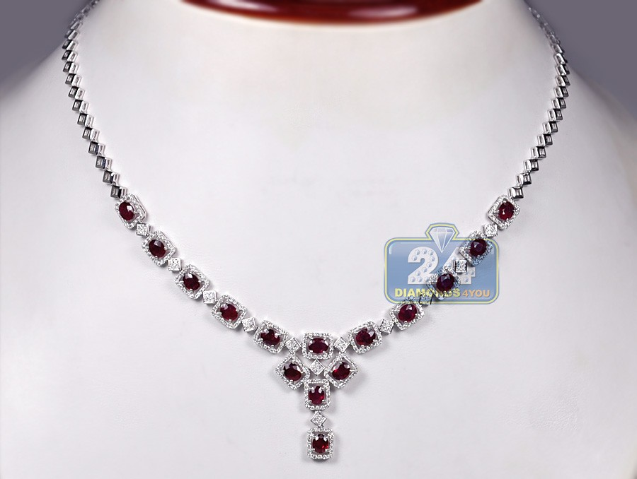 18k White Gold 8 39 Ct Diamond Ruby Womens Necklace 18 Inches