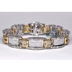 14K Two Tone Gold 8.17 ct Diamond Link Mens Bracelet 8 1/2 Inches