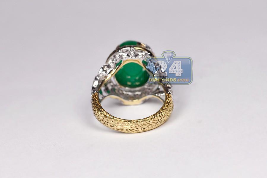 womens cabochon emerald gemstone ring 18k gold