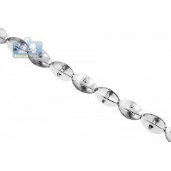 Solid 14K White Gold Bullet Link Mens Chain 5 mm 32 Inches