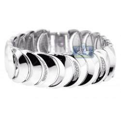 14K White Gold 1.37 ct Diamond Moon Link Womens Bracelet 8 Inches