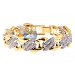 14K Yellow Gold 6.30 ct Diamond Link Womens Bracelet 8 1/2 Inches