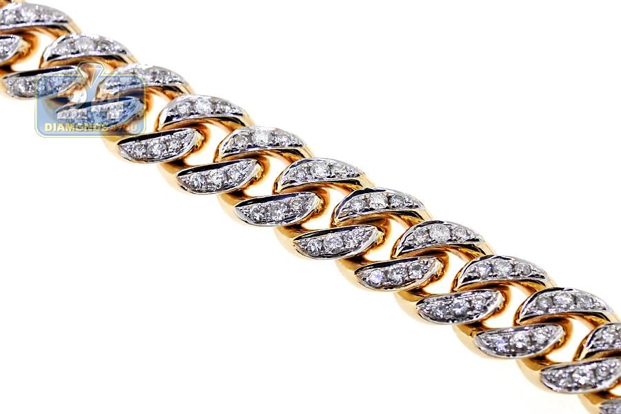 14k Yellow Gold Diamond Miami Cuban Link Mens Chain 12 Mm