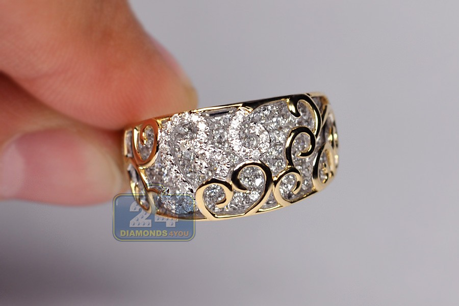 18k Two Tone Gold 1 47 Ct Diamond Womens Filigree Band Ring
