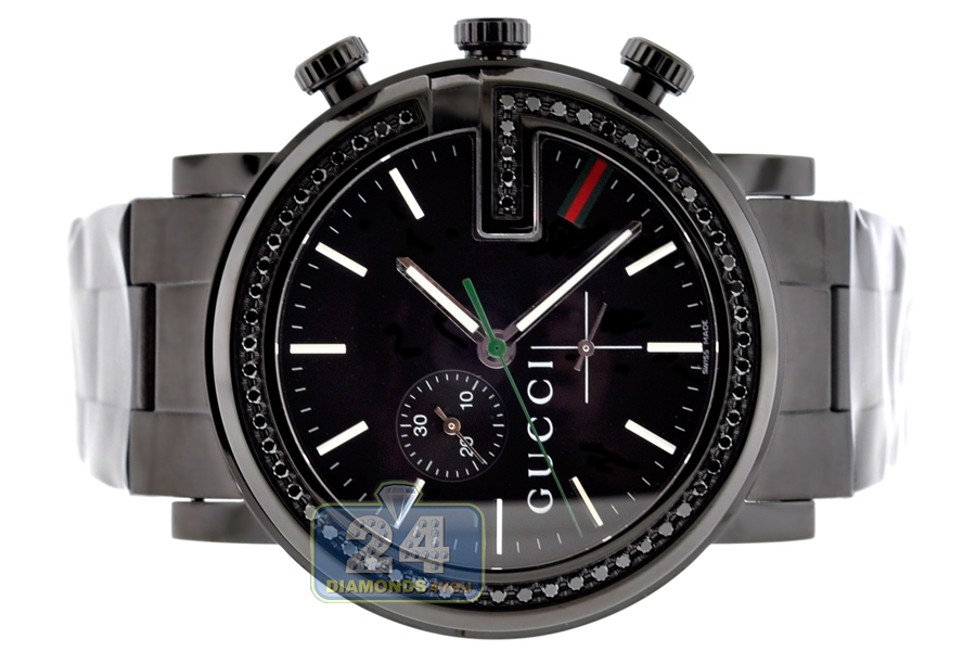 gucci g chrono black diamond mens watch ya101347 next