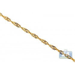 14K Yellow Gold Singapore Rope Link Womens Chain 1.2 mm 22 Inches