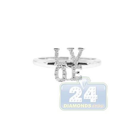 14K White Gold 0.12 ct Diamond Womens Love Ring