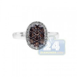 14K White Gold 0.50 ct Cognac Diamond Womens Ring
