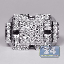 14K White Gold 3.31 ct Diamond Mens Multi-Square Ring