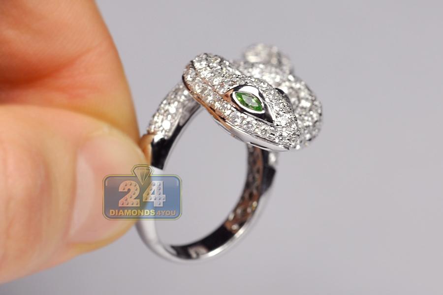 14k White Gold 3 68 Ct Diamond Womens Snake Ring