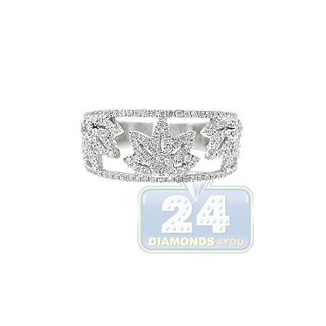 14K White Gold 0.56 ct Diamond Womens Leaf Band Ring