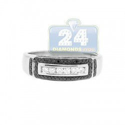 14K White Gold 0.42 ct Black White Diamond Mens Band Ring