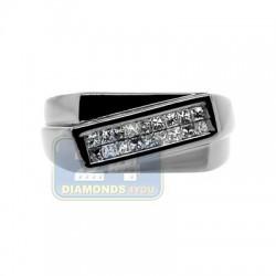 Black PVD 14K Gold 0.32 ct Princess Cut Diamond Mens Ring