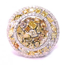14K White Gold 3.42 ct Fancy Yellow Diamond Womens Round Ring
