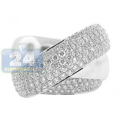 18K White Gold 3.02 ct Diamond Womens Criss-Cross Ring