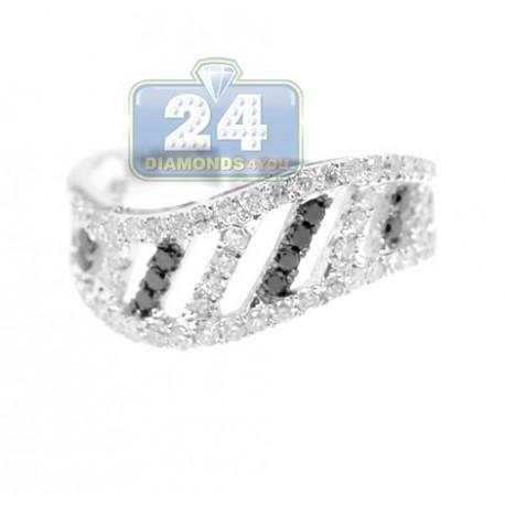 14K White Gold 0.80 ct Black White Diamond Womens Band Ring