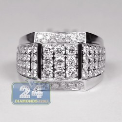14K White Gold 2.63 ct Diamond Mens Signet Ring