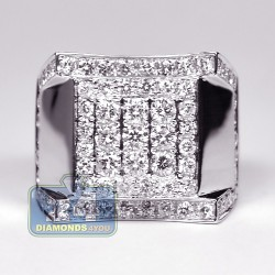14K White Gold 2.79 ct Round Cut Diamond Mens Signet Ring