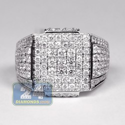 14K White Gold 2.80 ct Diamond Mens Classic Signet Ring