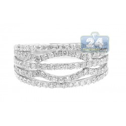 14K White Gold 1.00 ct Diamond Womens Open Decor Band Ring
