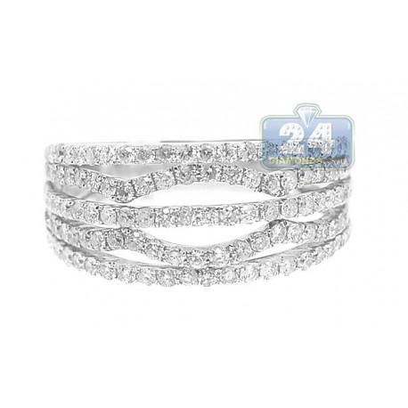 14K White Gold 1.00 ct Diamond Womens Open Decor Band Ring