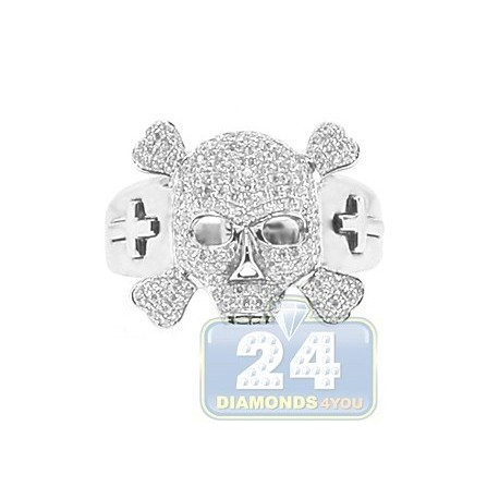 14K White Gold 0.80 ct Diamond Mens Skull Ring