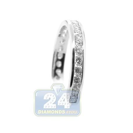 14K White Gold 0.77 ct Diamond Womens 3 mm Band Ring