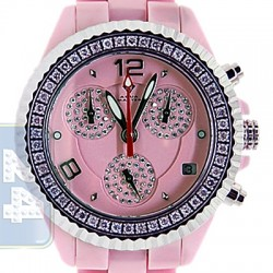 Aqua Master Pink Ceramic 1.25 ct Pave Diamond Womens Watch
