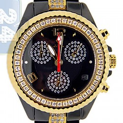 Aqua Master Black Ceramic 3.00 ct Diamond Womens Gold Tone Watch