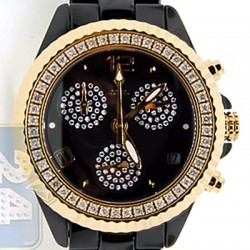 Aqua Master Black Ceramic 1.25 ct Diamond Womens Gold Tone Watch