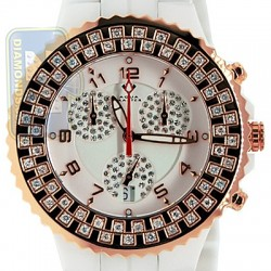 Aqua Master Ceramic 1.25 ct Diamond Womens Rose Gold Steel Watch