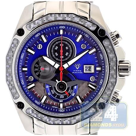 Aqua master carbon chronograph blue dial mens watch for Aqua marine watches