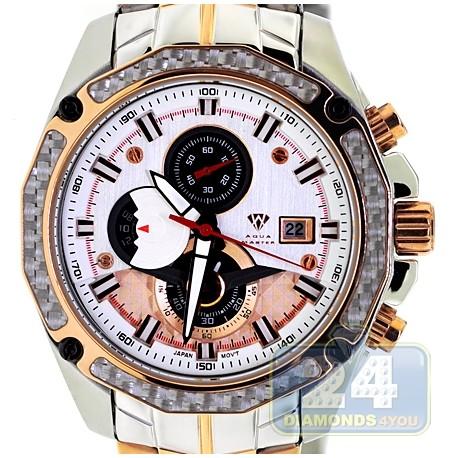 Aqua master carbon chronograph mens gold steel watch for Aqua marine watches
