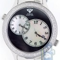 Aqua Master 2 Time Zone 2.45 ct Diamond Mens Steel Watch