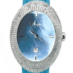 Aqua Master Angel Oval 7.00 ct Full Diamond Case Womens Watch