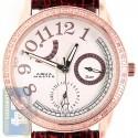 Aqua Master 0.50 ct Diamond Womens Leather Band Rose Steel Watch