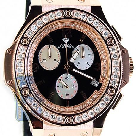Aqua Master Oval 4.00 ct Diamond Mens Rose Gold Watch