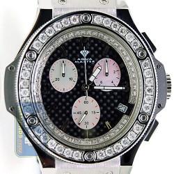 Aqua Master Oval Steel Ceramics 4.00 ct Diamond Leather Mens Watch