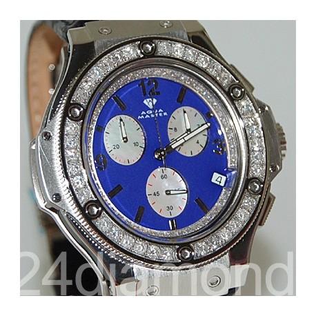 Aqua Master Oval 4.00 ct Diamond Mens Blue Dial Watch