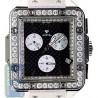 Aqua Master Square 4.25 ct Diamond Mens Black Leather Watch