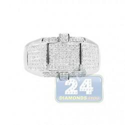 14K White Gold 0.67 ct Pave Diamond Mens Ring