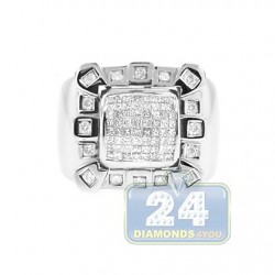 14K White Gold 1.06 ct Princess Diamond Mens Signet Ring