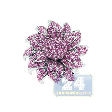 14K White Gold 1.44 ct Pink Sapphire Womens Flower Ring