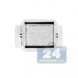 14K White Gold 0.73 ct Diamond Mens Ring