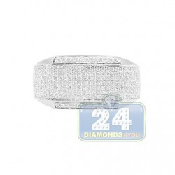 14K White Gold 0.84 ct Pave Diamond Mens Ring